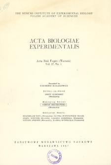 Acta Biologiae Experimentalis. Vol. 27, No 1, 1967