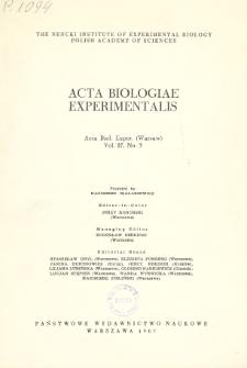 Acta Biologiae Experimentalis. Vol. 27, No 3, 1967