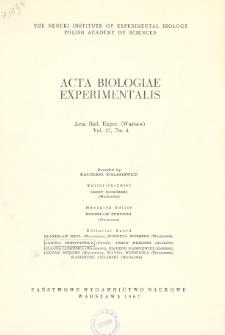 Acta Biologiae Experimentalis. Vol.27, No 4, 1967