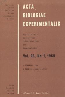 Acta Biologiae Experimentalis. Vol. 28, No 1, 1968