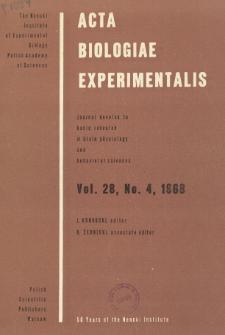 Acta Biologiae Experimentalis. Vol. 28, No 4, 1968