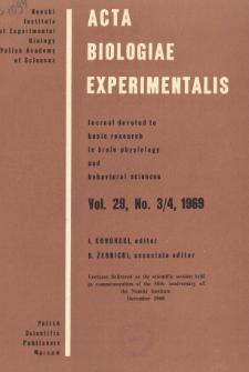 Acta Biologiae Experimentalis. Vol. 29, No 3/4, 1969