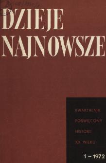 Dzieje Najnowsze : [kwartalnik poświęcony historii XX wieku] R. 4 z. 1 (1972), Title pages, Contents