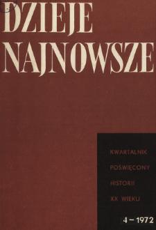 Dzieje Najnowsze : [kwartalnik poświęcony historii XX wieku] R. 4 z. 4 (1972), Title pages, Contents