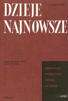 Dzieje Najnowsze : [kwartalnik poświęcony historii XX wieku] R. 19 z. 4 (1987), Title pages, Contents