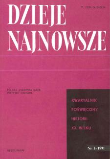 Dzieje Najnowsze : [kwartalnik poświęcony historii XX wieku] R. 23 z. 1 (1991), Title pages, Contents