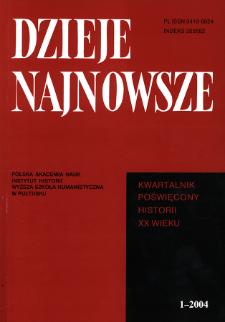 Dzieje Najnowsze : [kwartalnik poświęcony historii XX wieku] R. 36 z. 1 (2004), Title pages, Contents