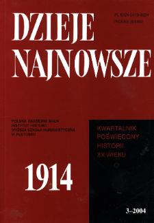 Dzieje Najnowsze : [kwartalnik poświęcony historii XX wieku] R. 36 z. 3 (2004), Strony tytułowe, spis treści