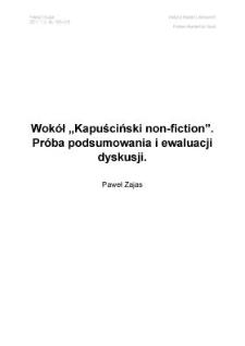 Wokół 'Kapuściński non-fiction'. Próba podsumowania i ewaluacji dyskusji