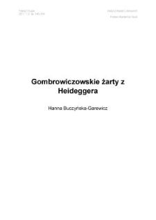 Gombrowiczowskie żarty z Heideggera