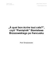 """""""À quoi bon écrire tout cela?"""", czyli """"Pamiętnik"""" Stanisława Brzozowskiego po francusku"""