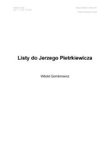 Listy do Jerzego Pietrkiewicza
