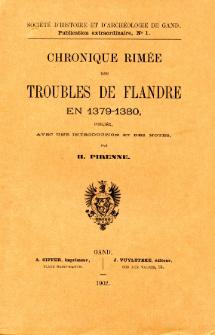 Chronique rimée des troubles de Flandre en 1379-1380