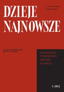 Dzieje Najnowsze : [kwartalnik poświęcony historii XX wieku] R. 44 z. 1 (2012), Title pages, Contents