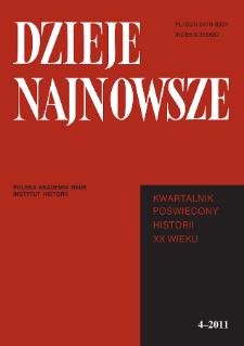 Dzieje Najnowsze : [kwartalnik poświęcony historii XX wieku] R. 43 z. 4 (2011), Strony tytułowe, spis treści