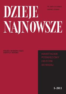 Dzieje Najnowsze : [kwartalnik poświęcony historii XX wieku] R. 43 z. 1 (2011), Title pages, Contents