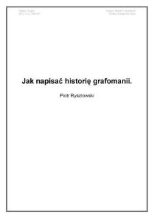 Jak napisać historię grafomanii