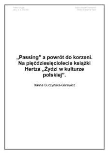 """Passing apowrót do korzeni. Na pięćdziesięciolecie książki Hertza """"Żydzi w kulturze polskiej"""""""
