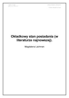 Okładkowy stan posiadania (w literaturze najnowszej)