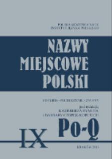 Nazwy miejscowe Polski : historia, pochodzenie, zmiany. 9, Po-Q