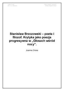 """Stanisław Brzozowski - poeta i filozof. Krytyka jako poezja progresywna w """"Głosach wśród nocy"""""""
