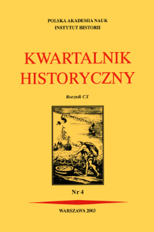 Kwartalnik Historyczny R. 110 nr 4 (2003), Title pages, Contents