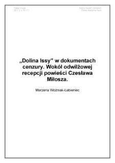 Dolina Issy w dokumentach cenzury. Wokół odwilżowej recepcji powieści Czesława Miłosza