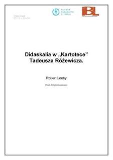 Didaskalia w 'Kartotece' Tadeusza Różewicza