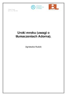 Uroki mroku (uwagi o tłumaczeniach Adorna)