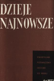 Dzieje Najnowsze : [kwartalnik poświęcony historii XX wieku] R. 5 z. 4 (1973), Wprowadzenie