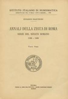 Annali della zecca di Roma : serie del Senato Romane 1184-1439. P. 1