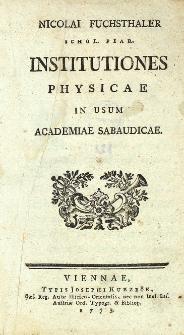 Institutiones physicae in usum Academiae Sabaudicae