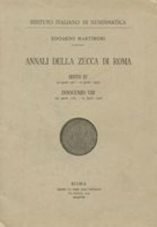 Annali della zecca di Roma. [5], Sisto IV (9 agosto 1471-12 agosto 1484), Innocenzo VIII (29 agosto 1484-25 luglio 1492)