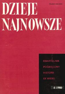Dzieje Najnowsze : [kwartalnik poświęcony historii XX wieku] R. 12 z. 4 ( 1980), Strony tytułowe, spis treści