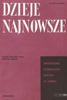 Dzieje Najnowsze : [kwartalnik poświęcony historii XX wieku] R. 21 z. 2 (1989), Title pages, Contents
