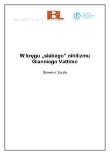 """W kręgu """"słabego"""" nihilizmu Gianniego Vattimo"""