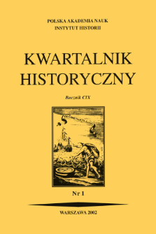 Kwartalnik Historyczny R. 109 nr 1 (2002), Title pages, Contents