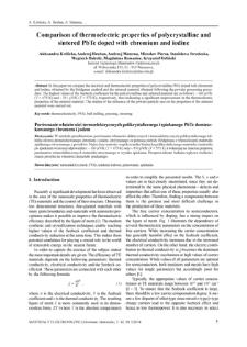 Comparison of thermoelectric properties of polycrystalline and sintered PbTe doped with chromium and iodine = Porównanie właściwości termoelektrycznych polikrystalicznego i spiekanego PbTe domieszkowanego chromem i jodem