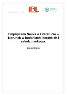 Empiryczna Nauka oLiteraturze – kierunek wbadaniach literackich iszkoła naukowa