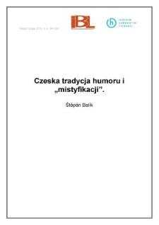 """Czeska tradycja humoru i""""mistyfikacji"""""""