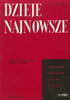 Dzieje Najnowsze : [kwartalnik poświęcony historii XX wieku] R. 13, z. 3 (1981), Title pages, Contents
