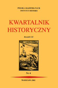 Kwartalnik Historyczny R. 109 nr 4 (2002), Title pages, Contents