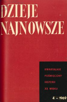 Dzieje Najnowsze : [kwartalnik poświęcony historii XX wieku] R. 1 z. 4 (1969), Strony tytułowe, Spis treści