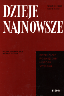 Dzieje Najnowsze : [kwartalnik poświęcony historii XX wieku] R. 38 z. 1 (2006), Title pages, Contents