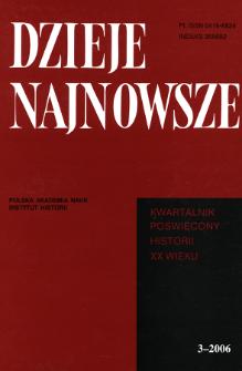 Dzieje Najnowsze : [kwartalnik poświęcony historii XX wieku] R. 38 z. 3 (2006), Title pages, Contents