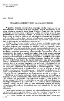 Fenomenologiczny nurt socjologii wiedzy