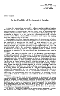 On the possibility of development of sociology