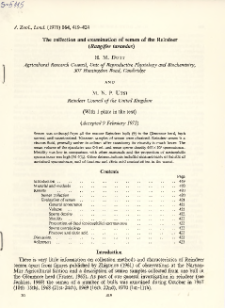 The collection and examination of semen of the Reindeer (Rangifer tarandus)