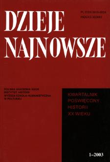 Dzieje Najnowsze : [kwartalnik poświęcony historii XX wieku] R. 35 z. 1 (2003), Strony tytułowe, spis treści
