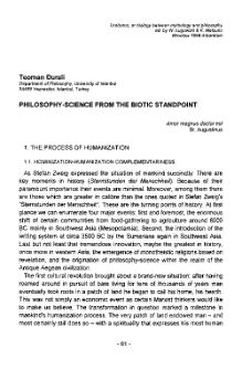 Philosophy-Science from the biotic standpoint